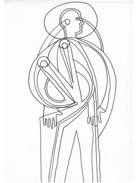 Graeme Mortimer Evelyn line drawing of a man/saint