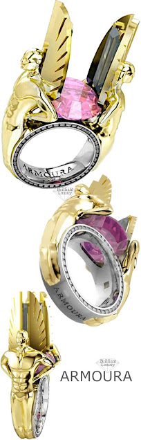 Armoura Pink sapphire Icarus gold ring #brilliantluxury