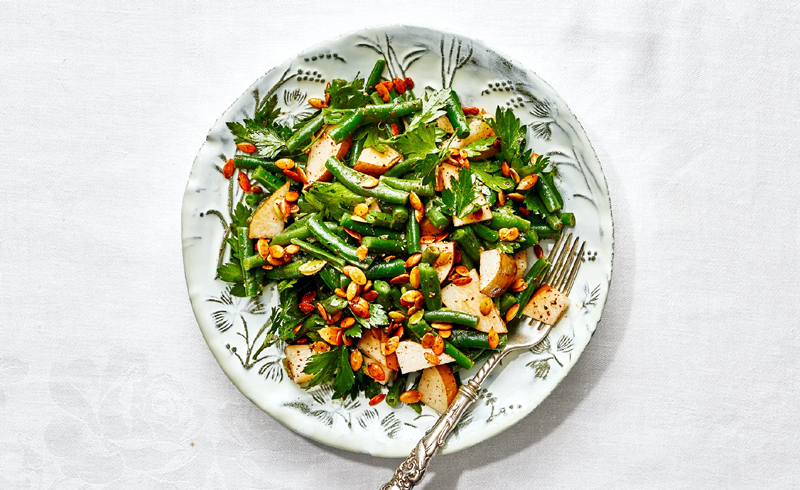 Smashed Green Beans With Lemony Sumac Dressing