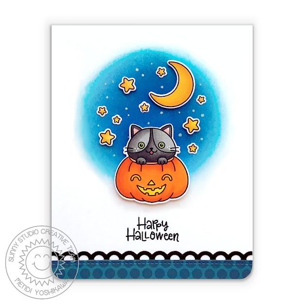 Sunny Studio Blog: Cat in Jack-o-latern Pumpkin Happy Halloween Handmade Card (using Scaredy Cat Stamps, Dots & Stripes Jewel Tones Paper & Slimline Basic Border Dies)