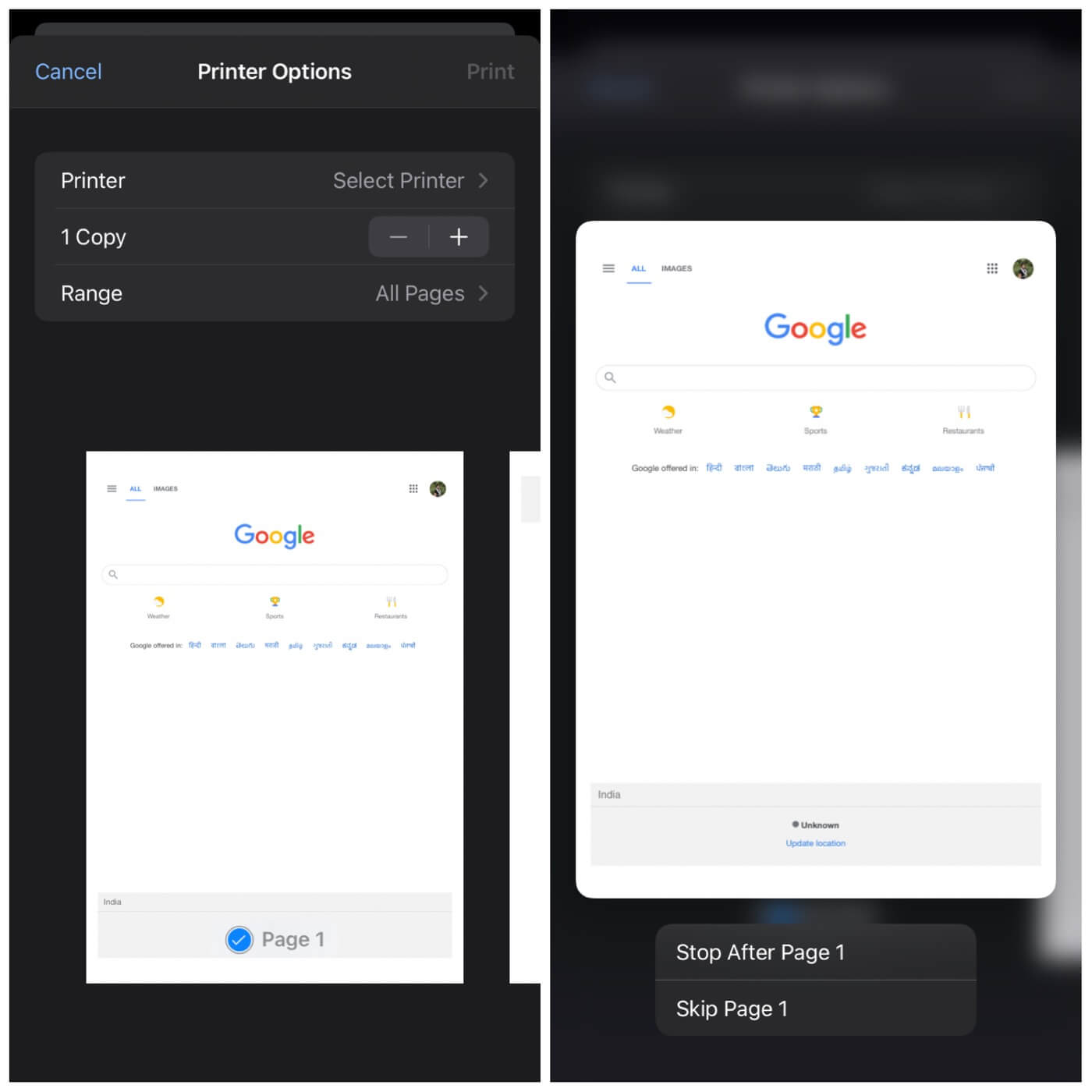 Print web page in Chrome on iPhone