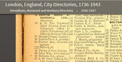 1926-1927 Streatham Directory - 37 Westow Street - has Frank Howard but in this case he is a Costermonger, which seems a bit of a career drop.