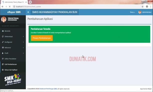 cara update aplikasi erapor smk 2018