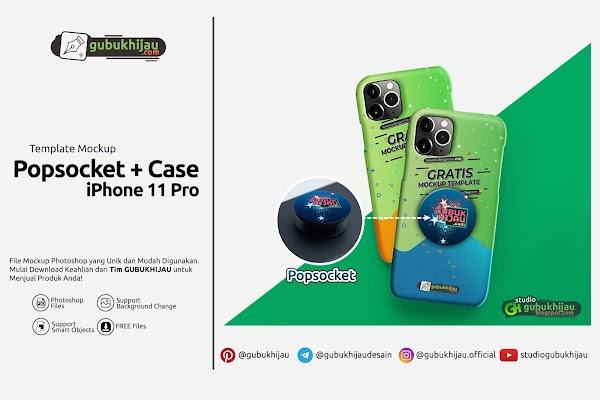 Mockup Popsocket + Case iPhone 11 Pro