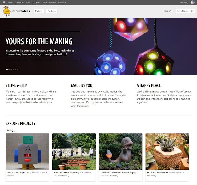 Homepage in instructables.com as of January 6, 2021