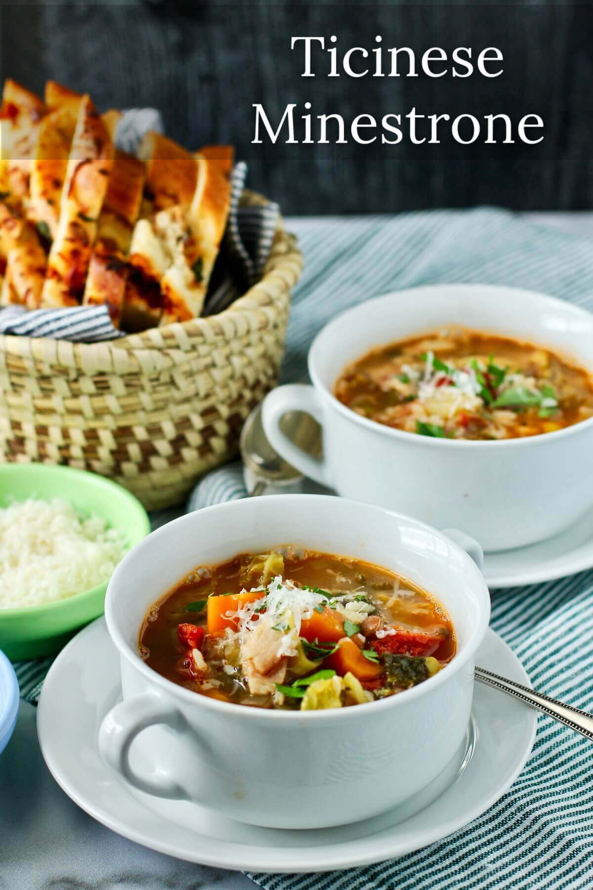 Ticinese Minestrone soup with Savoy cabbage and cheesy bread