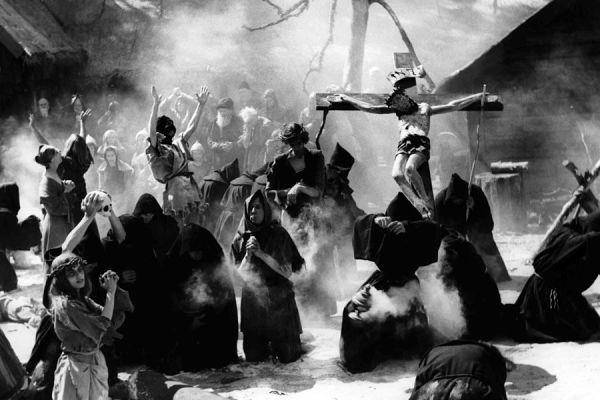 Parade of medieval flagellants