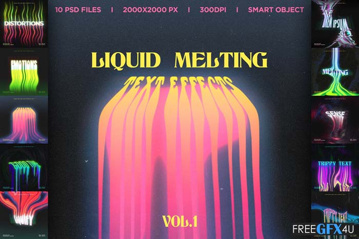 Liquid Melting PSD Text Effects Vol.1