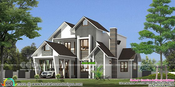 Sloping roof ultra modern 2318 sq-ft home