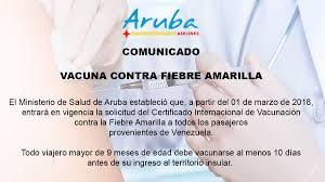 Requisito de Vacuna contra fiebre amarilla para ingresar a Aruba