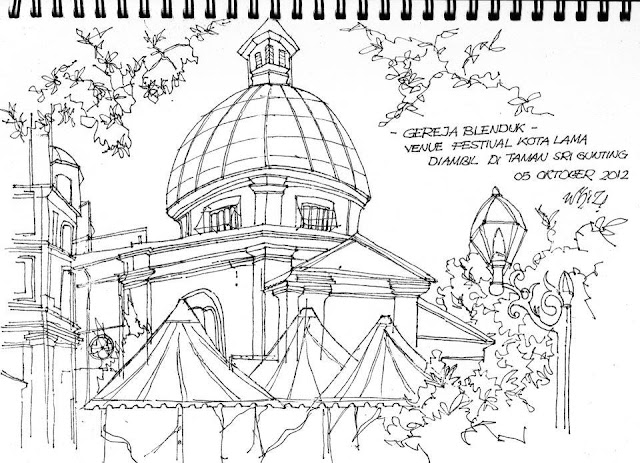 Sketsa Gereja Blenduk, Wisata Semarang, Sketsa Semarang