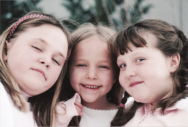 Three pretty sisters in pink. Christmas 2005