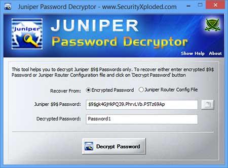 Juniper Password Decryptor] Tool to Decode and Recover Juniper $9