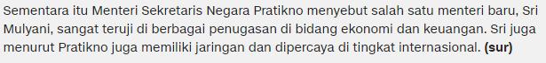 Presiden Kembali Rombak 13 Kementrian, Bu Sri Mulyani Dikabarkan Kembali Menjadi Mentri Keuangan Dan ini lah daftar Lengkap Nama Nama Mentri Baru yang Presiden Tunjuk- Commando