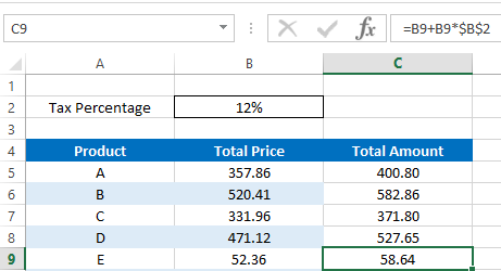 Fill down formula using drag method - relative and absolute reference