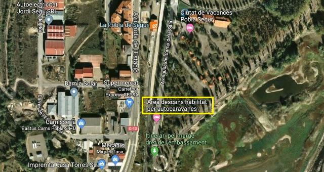 Situació de l'àrea d'autocaravanes de la Pobla de Segur