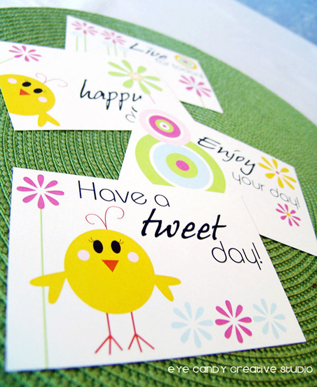 chick holding flower, spring postcards, spring postcard set, whimsical
