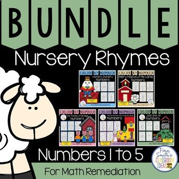 Color By Number Nursery Rhymes For Numbers 1 to 5 Color By Code Bundle #FernSmithsClassroomIdeas
