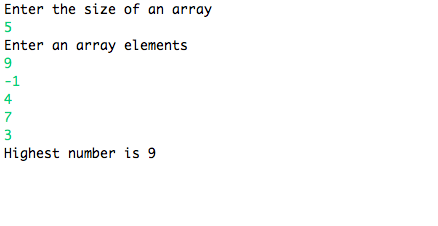 Output of largest number in an array
