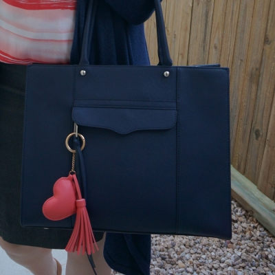 heart and tassel bag charm on Rebecca Minkoff medium MAB tote in moon navy | away from the blue