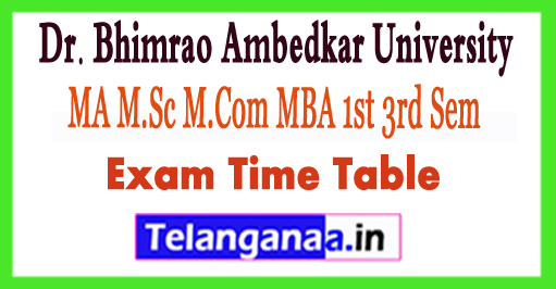 DBRAU MA M.Sc M.Com MBA MCA Time Table 2018