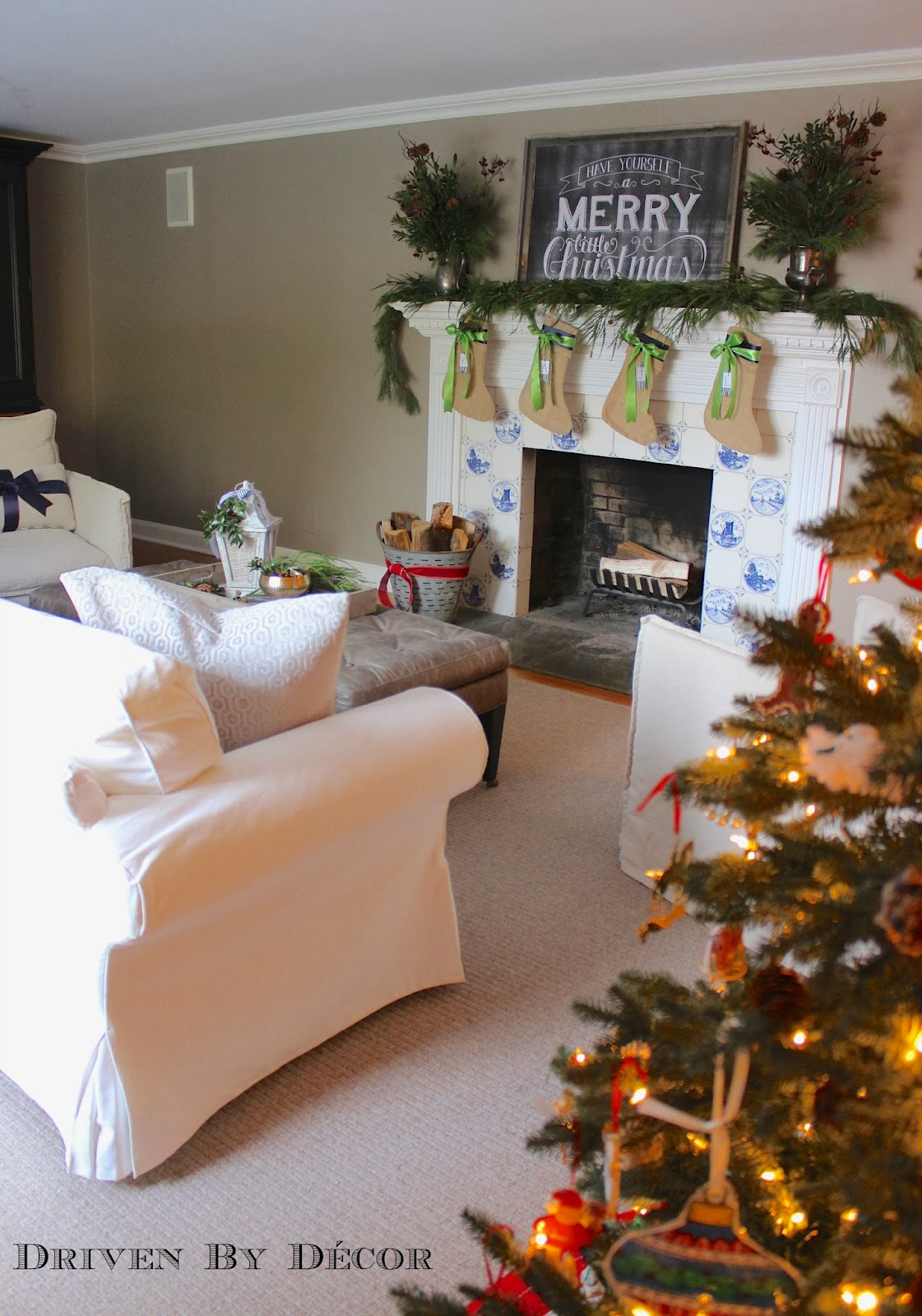 How to decorate my room for christmas - Let S Bring Our Plates Over To The Family Room And Sit By The Fire Umm Except There Is No Fire Because My Husband Is Paranoid That The Mantel Greenery