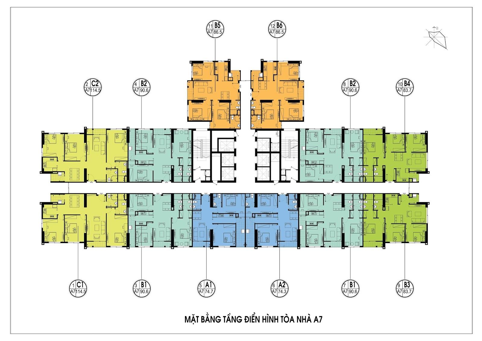 Thiết kế mặt bằng điển hình tòa A7 - An Bình City