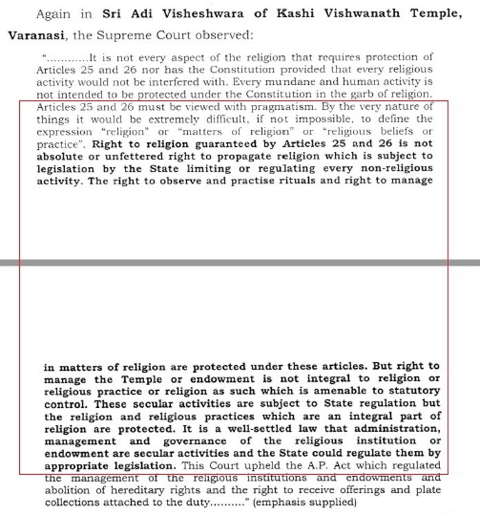 Figure 5. SC judgment on Govt. role in a religious place