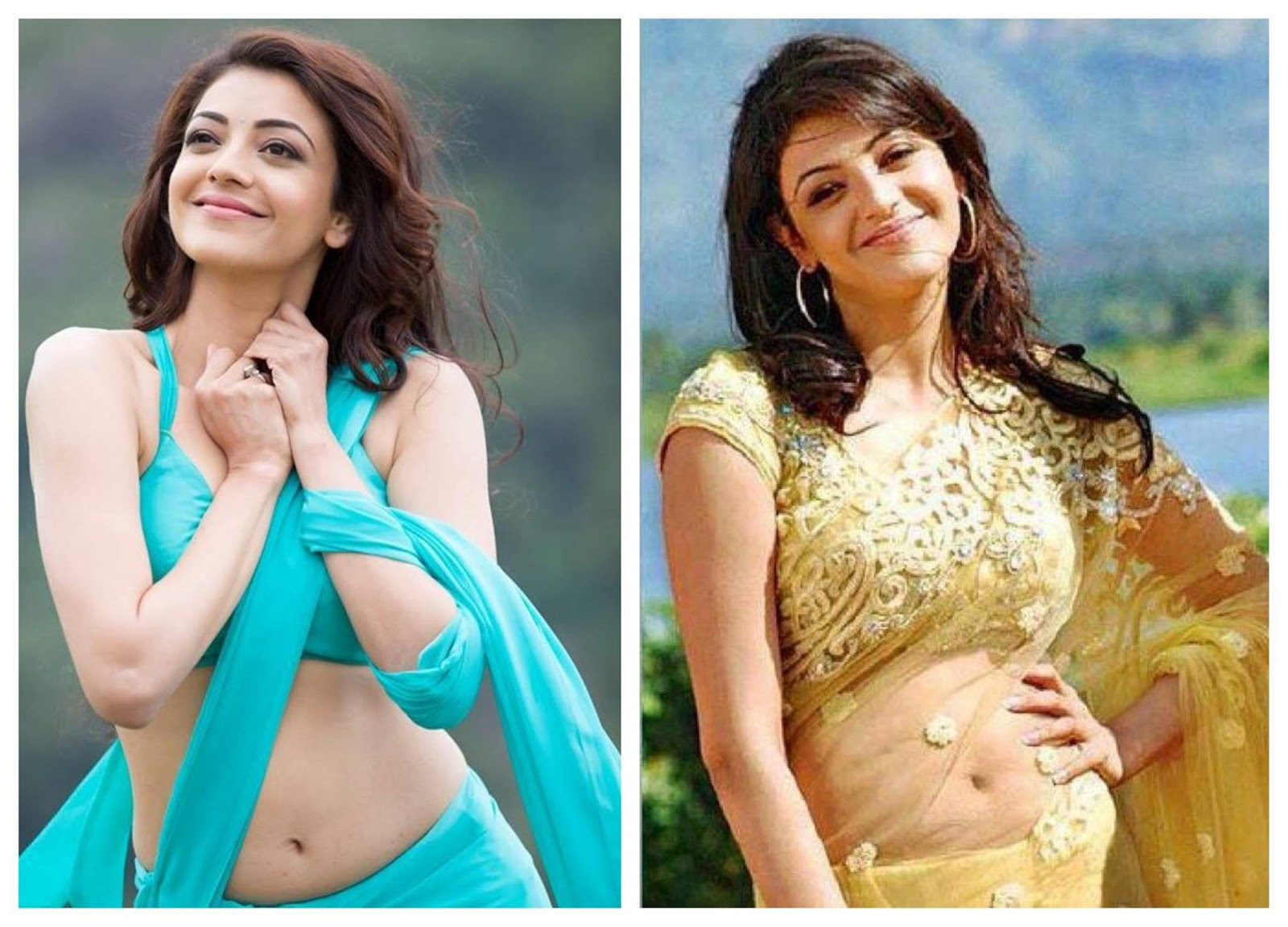 Kajal Agarwal navel show in saree