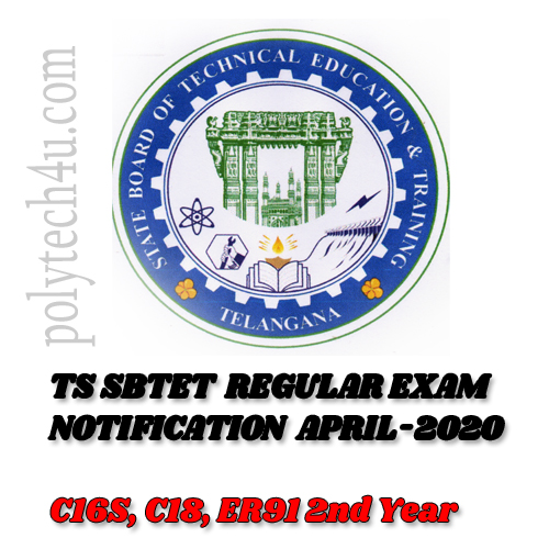 TS SBTET REGULAR EXAM NOTIFICATION APRIL 2020 | C16S C18 ER91