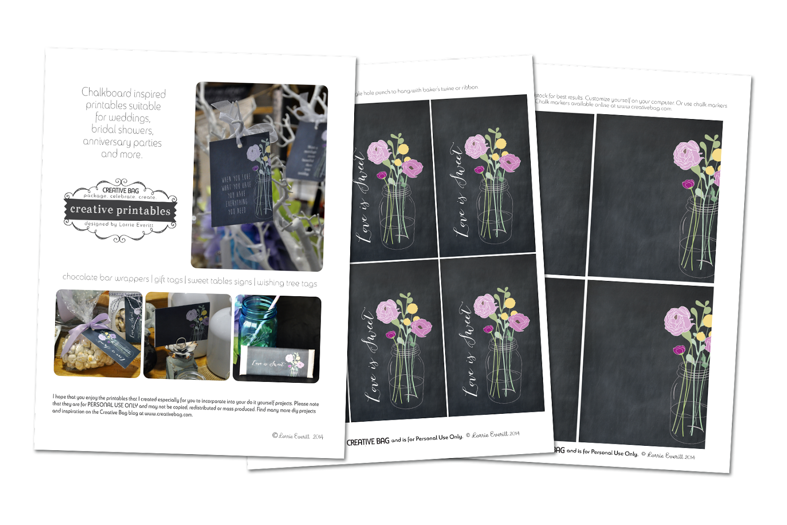 free download for chalkboard inspired printables from Creative Bag | creativebag.com