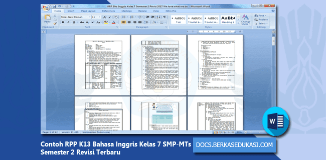 Contoh RPP K13 Bahasa Inggris Kelas 7 SMP-MTs Semester 2 Revisi 2019-2020