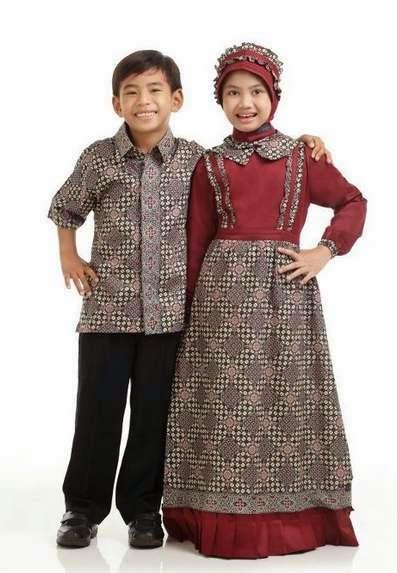 Desain baju batik muslim anak modern model terbaru