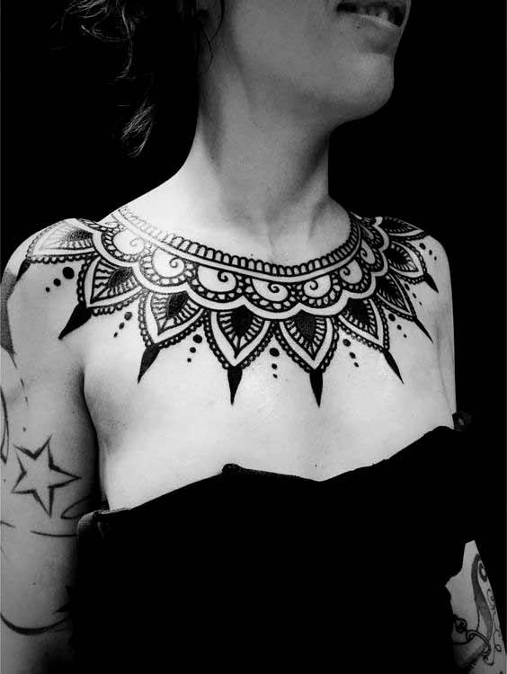 collar bone tattoos for male