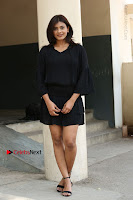 Actress Hebah Patel Stills in Black Mini Dress at Angel Movie Teaser Launch  0162.JPG
