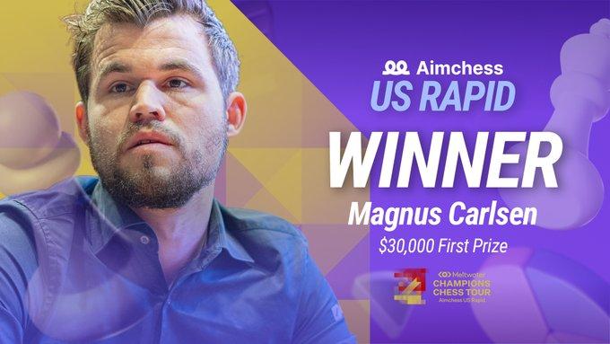 Magnus Carlsen vainqueur au AimChess US Rapid - Photo © Le site officiel