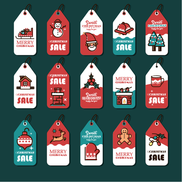 Xmas label templates colorful classic vertical flat decor Free vector