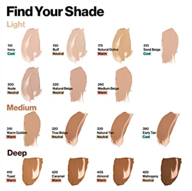 revlon colorstay full cover foundation shades swatches