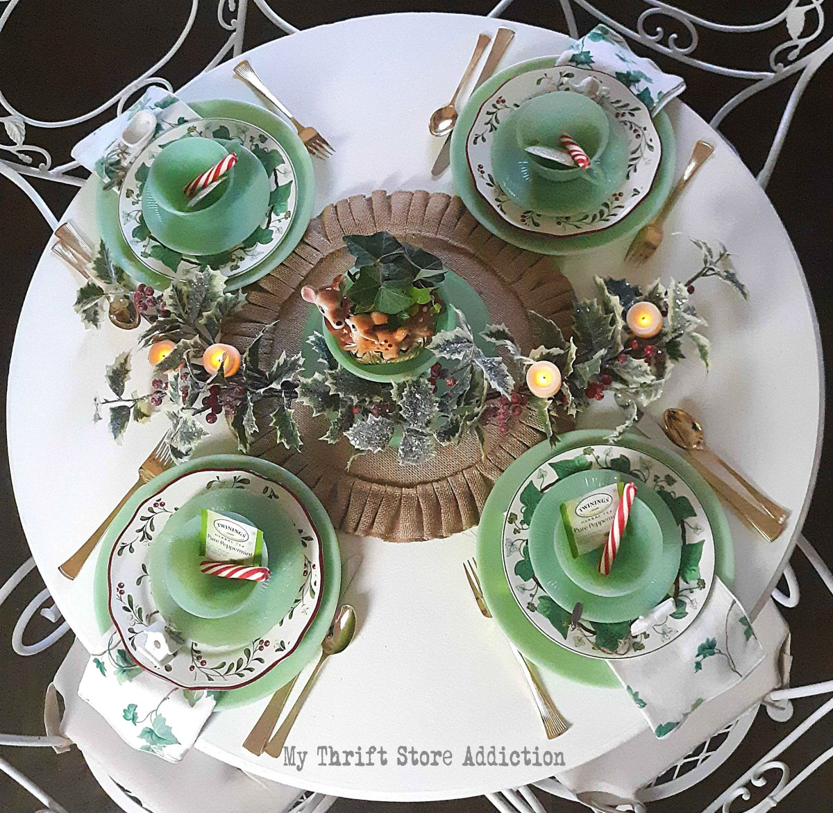 Jadeite Holly and Ivy Christmas tablescape