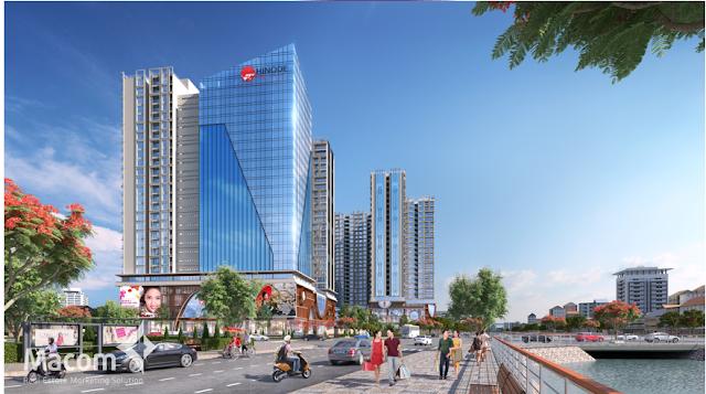Phối cảnh chung cư Hinode City nhìn từ mặt đường Minh Khai