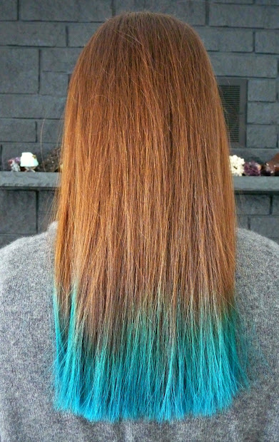 two years of turquoise dip dyed