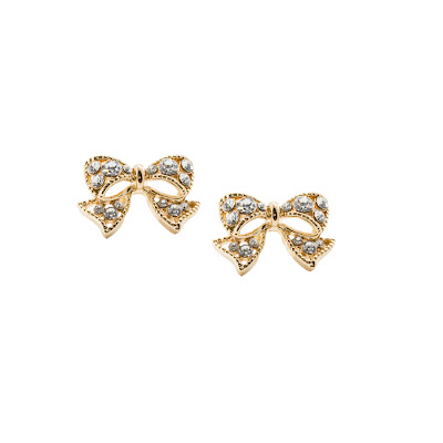 t+j Designs Gold Crystal Bow Stud Earrings
