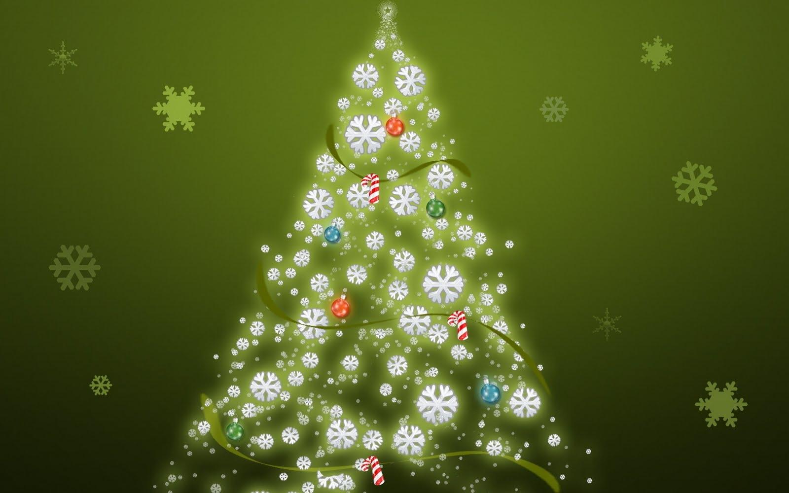 Arbol De Navidad Y Copos De Nieve