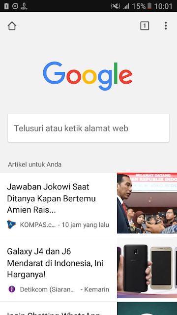 Halaman utama Google Chrome terdapat rekomendasi artikel