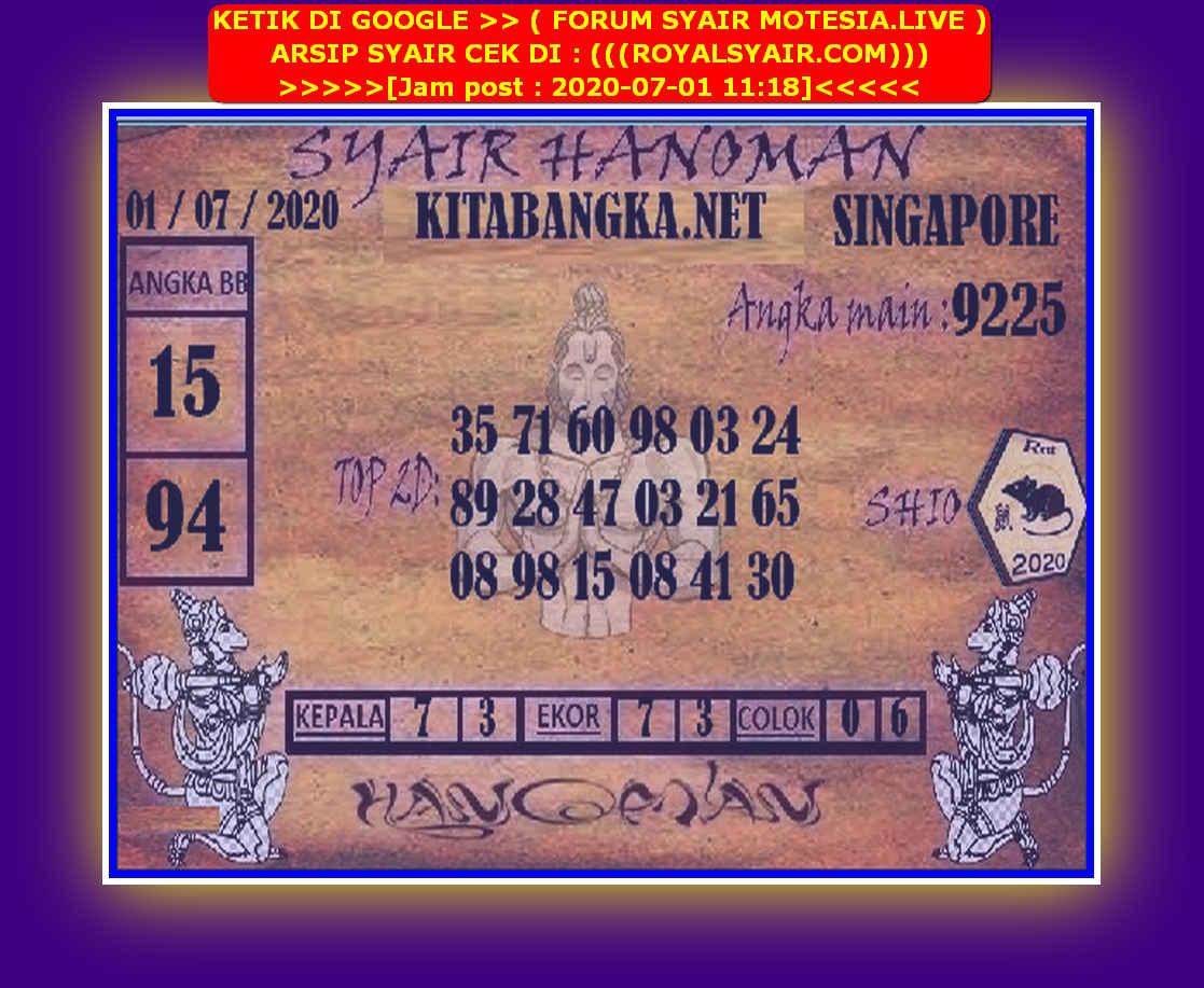 Kode syair Singapore Rabu 1 Juli 2020 94