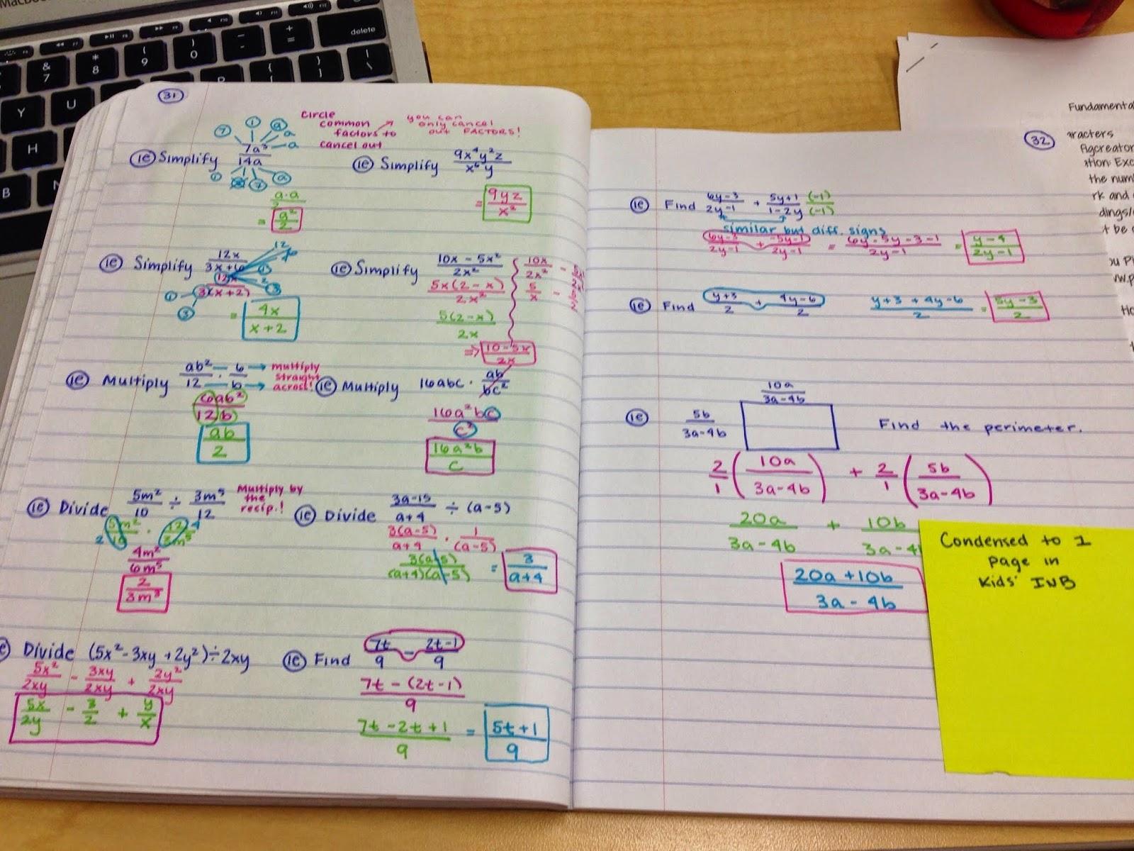 The Secondary Classroom Can Be Fun Too Algebra 1 Inb