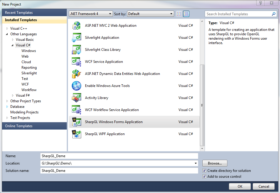 Create SharpGL/OpenGL for C# Project in windows form application