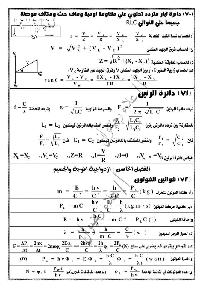 مراجعة فيزياء ثالثة ثانوي. كل القوانين بطريقة منظمة جداً كل فصل لوحده أ/ علاء رضوان 17