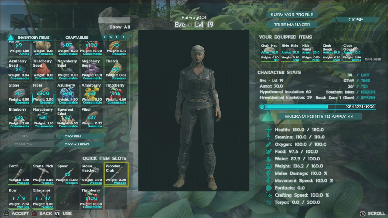 Ark Survival Evolved Menu On Xbox One