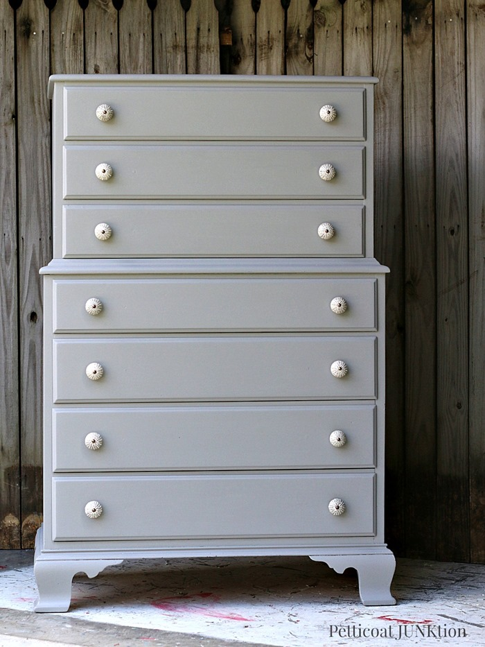 Gorgeous piece. Can you believe that her 12 year old grandaughter painted it and picked out the knobs?